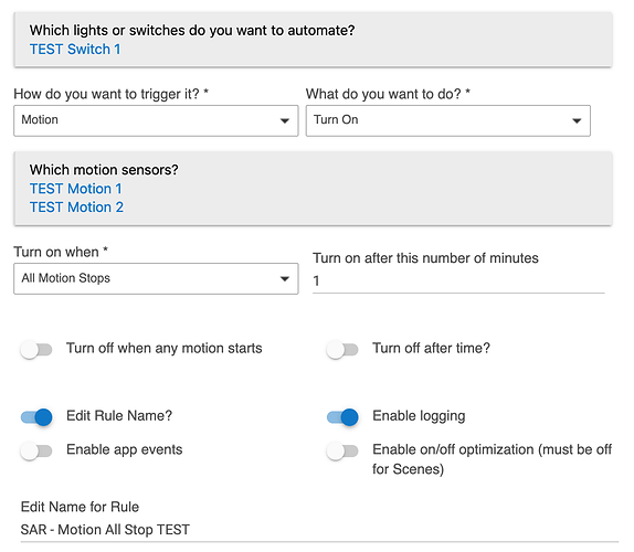 Simple Automation Rules 1.1 Screenshot: Trigger on motion; turn on switch when all motion stops, after 1 minute