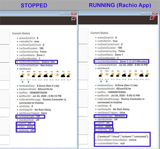 rachio app stopped vs running