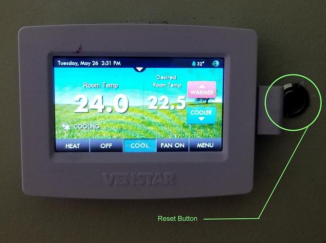 2020 venstar thermostat reset button
