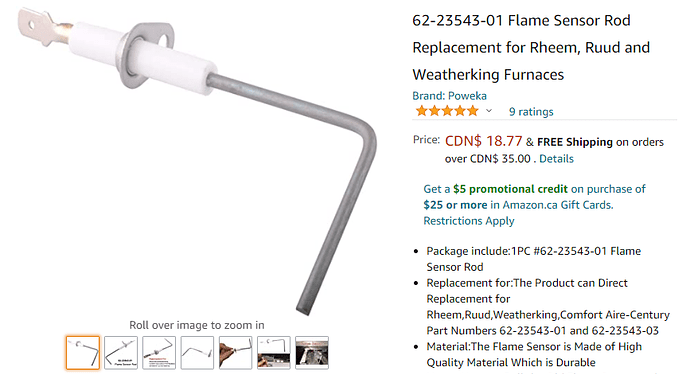 2020-12-09 15_32_45-62-23543-01 Flame Sensor Rod Replacement for Rheem, Ruud and Weatherking Furnace