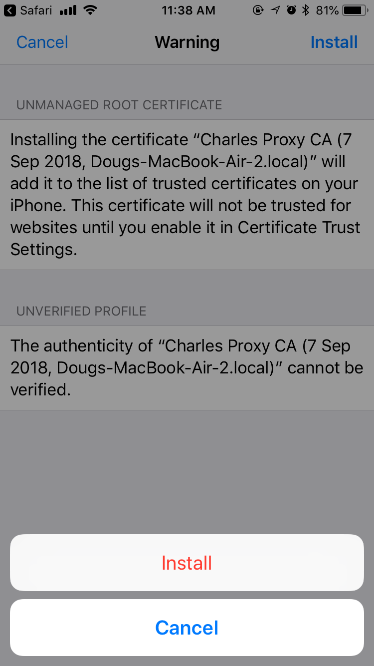 Charles Proxy Android Install