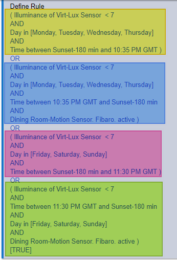 RM Example: Turning Lights ON & Off  Different days, Times