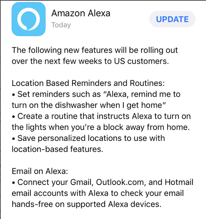Alexa Phone App is getting Geofencing - Another Mobile Presence