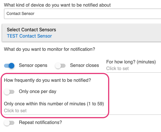 """""""Only once within this number of minutes"""" option in Notifications app"""
