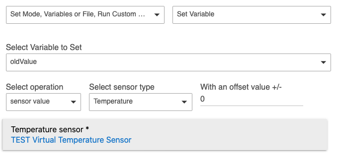 Setting 'oldValue' variable to temperature sensor value
