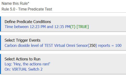 Screenshot: Rule 5.0 with 'time between...' predicate condition